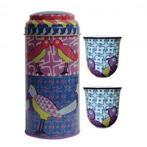 Set 2 Bicchieri Caffè Porcellana | Birds Of Paradise | Images D'Orient