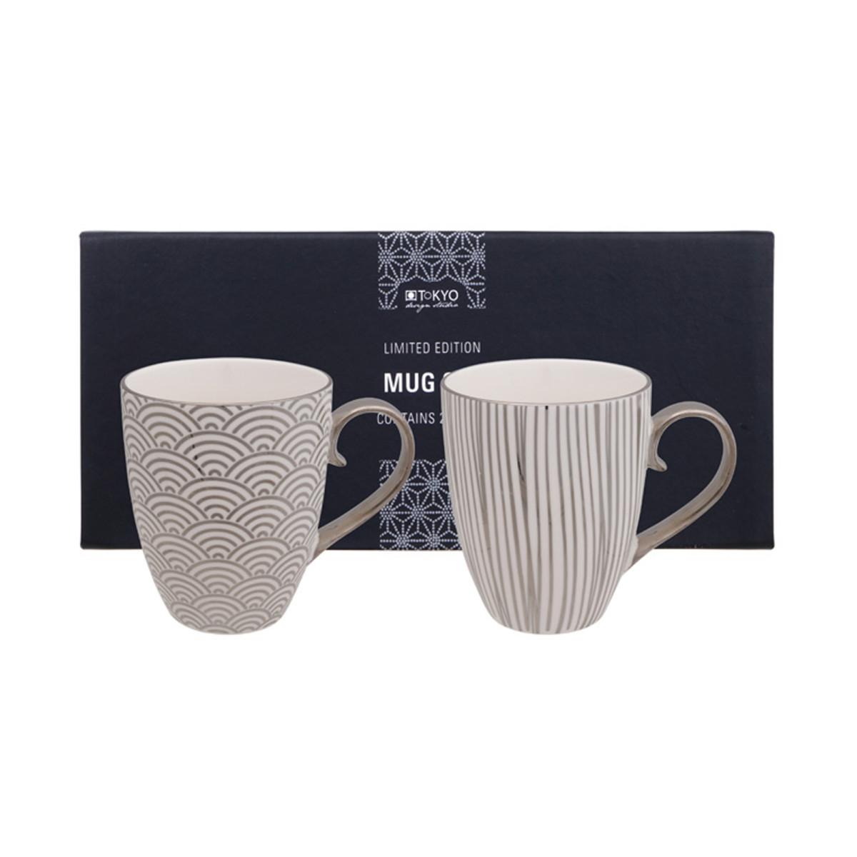 TOKYO DESIGN – LIMITED EDITION – NIPPON PLATINUM MUG SET 2PCS 380ML STAR & LINES