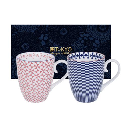 TOKYO DESIGN – GEO ECLECTIC MUG SET 2 PCS 380ML BLUE & PINK